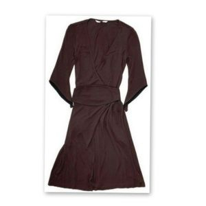 Diane von Furstenberg 2 XS Brown Wrap Dress Midi